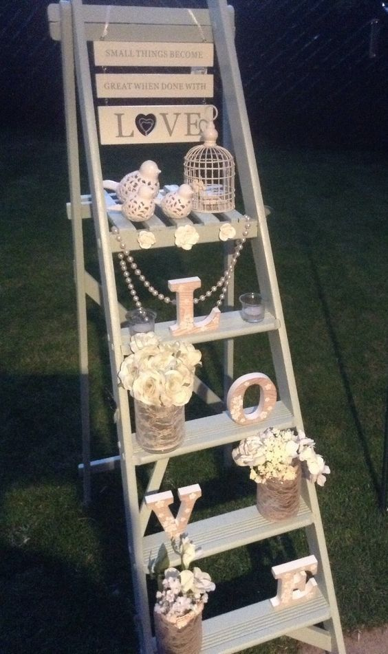 Vintage Wedding Decorations with Ladders