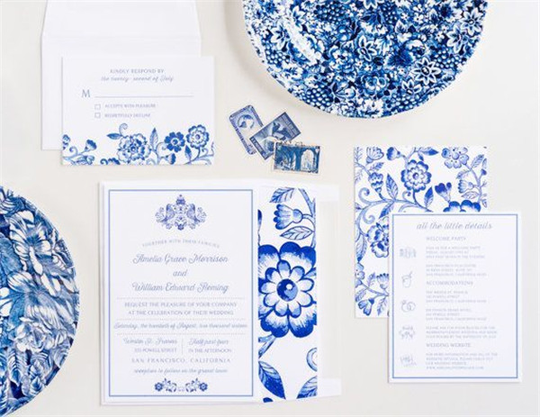 blue floral wedding inspiration